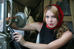 The girl behind the wheel Stock Image