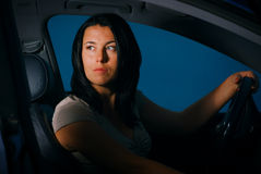 The girl behind the wheel Royalty Free Stock Images
