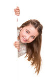 Girl behind a white board Stock Image