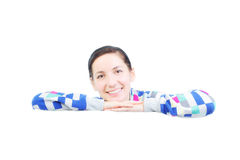 Girl behind a white panel Royalty Free Stock Photo