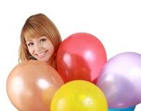 Girl behing air balloon Royalty Free Stock Photography