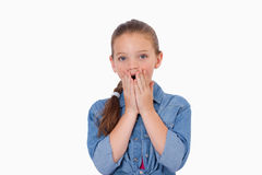 Girl being afraid by something Stock Photo