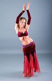 Girl in belly dance dress Royalty Free Stock Images