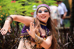 Girl belly dancing Royalty Free Stock Images