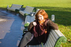 Girl on a bench Royalty Free Stock Photography