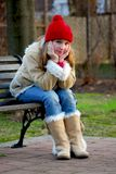 Girl on bench Royalty Free Stock Photo