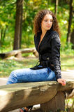 Girl on a bench Stock Photo