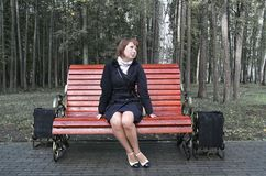 Girl on a bench Royalty Free Stock Photos
