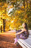 Girl on Bench Royalty Free Stock Photography