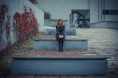 Girl on the bench Royalty Free Stock Images
