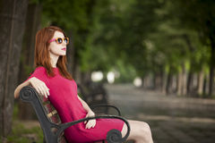 Girl on the bench Royalty Free Stock Photo
