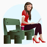 Girl on a bench in the park at lunch working on a laptop  illustration EPS10 Royalty Free Stock Photography