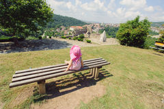 Girl on Bench Royalty Free Stock Images