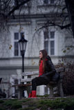 Girl on bench Stock Image