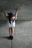 Girl bending over. Feeling happy Stock Images