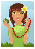 Girl with berry necklace Royalty Free Stock Photography