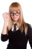Girl bespectacled. Beautiful girl on white background bespectacled Royalty Free Stock Photo