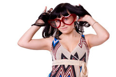 Girl bespectacled. Making look younger girl bespectacled Royalty Free Stock Photos