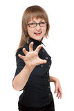 Girl bespectacled shows passion Stock Image