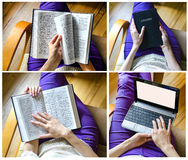 Girl with  Bible and laptop. The girl with the Bible and Girl with a laptop collage Stock Image