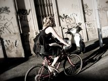 Girl in bicy. A girl in bicycle in the streets of rome Royalty Free Stock Photo