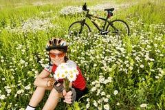 Girl with bicycle Stock Photo