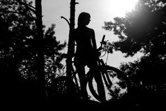 Girl with bicycle. Silhouette of the girl with bicycle in the forest Stock Photography
