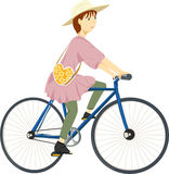 Girl on a bicycle stock illustration