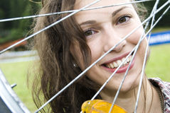 Girl with bicycle Royalty Free Stock Photo