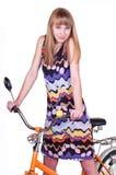 Girl on bicycle Stock Photo