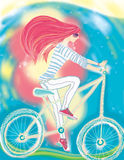 The girl and a bicycle Royalty Free Stock Images
