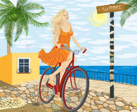Girl on a bicycle. Young woman on a bicycle - vector illustration royalty free illustration