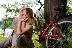 Girl with a bicycle Royalty Free Stock Photos