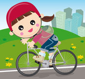 Girl with bicycle. Illustration of little girl going with bicycle