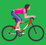 Girl on a bicycle. This image is a vector illustration and can be scaled to any size without loss of resolution Stock Images