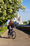Girl on the bicycle Royalty Free Stock Photos