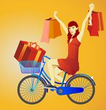 Girl on bicycle Royalty Free Stock Photo