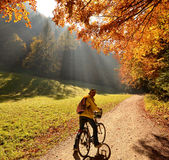 Girl on bicycle in autumn Stock Photos
