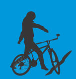 Girl on bicycle on background of sky Royalty Free Stock Photo