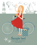 Girl with a bicycle on the beach. Hand drawing sketch royalty free illustration