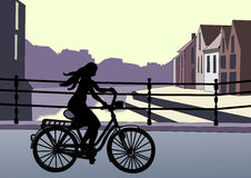Girl on Bicycle Royalty Free Stock Images