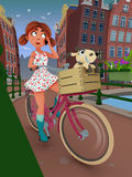 Girl on a bicycle. A 3D render of a girl riding on a bicycle with her little dog while talking on the phone Stock Photo