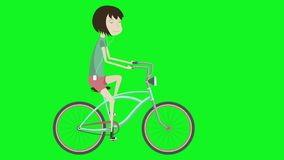 Girl on a bicycle. Hipster on city bike. 2d aanimation in the style of flat illustration with green screen. Animation for a promo videos, festivals stock illustration
