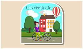 Girl with a bicycle  illustration royalty free illustration