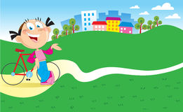 Girl with a bicycle. The illustration shows a girl near the bicycle on a walk behind city vector illustration