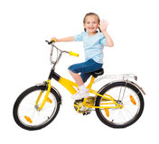 Girl on bicycle isolated Royalty Free Stock Photo