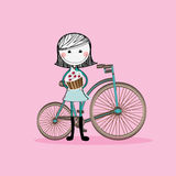 Girl and bicycle Royalty Free Stock Images