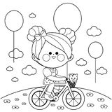 Girl on a bicycle at the park. Black and white coloring book page stock illustration