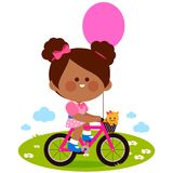 Girl on a bicycle at the park. Happy little girl riding a bicycle at the park. Vector illustration Royalty Free Stock Photography