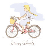 Girl on a bicycle in a retro style Royalty Free Stock Photos